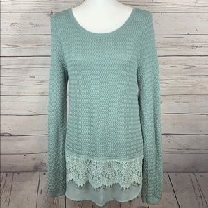 Lucky Brand Boho Knit Lace Mix Sweater Top Size L